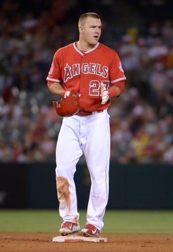 Jun 24, 2014; Anaheim, CA, USA; Los Angeles Angels center fielder Mike Trout (27) during the game against the Minnesota Twins at Angel Stadium of Anaheim. Mandatory Credit: Kirby Lee-USA TODAY Sports