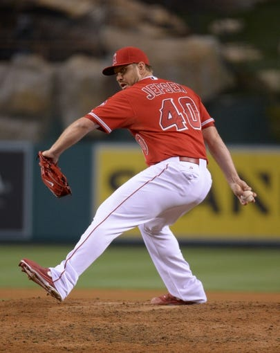 Jun 24, 2014; Anaheim, CA, USA; Los Angeles Angels reliever Kevin Jepsen (40) delivers a pitch against the Minnesota Twins at Angel Stadium of Anaheim. The Angels defeated the Twins 8-6. Mandatory Credit: Kirby Lee-USA TODAY Sports