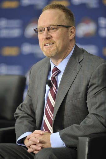 Jun 27, 2014; Independence, OH, USA; Cleveland Cavaliers general manager David Griffin speaks to the media at Cleveland Clinic Courts. Mandatory Credit: David Richard-USA TODAY Sports