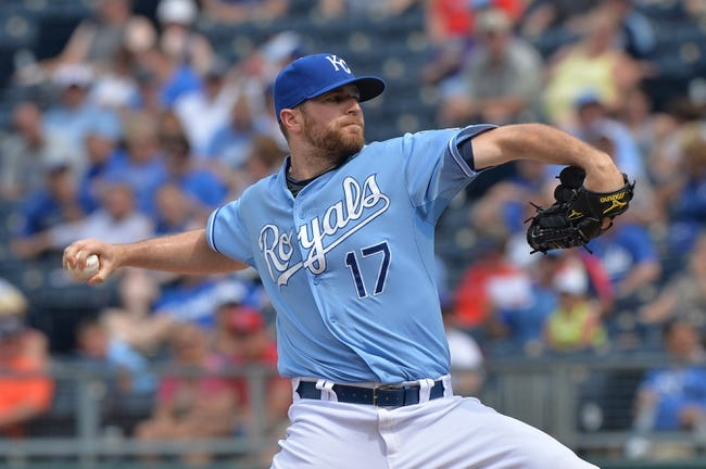 Jun 29, 2014; Kansas City, MO, USA; Kansas City Royals pitcher Wade Davis (17) delivers a pitch against the Los Angeles Angels during the eighth inning at Kauffman Stadium. Mandatory Credit: Peter G. Aiken-USA TODAY Sports