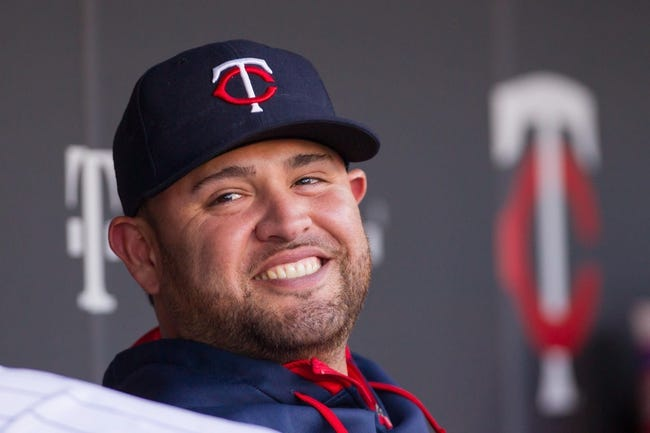 Jun 30, 2014; Minneapolis, MN, USA; Minnesota Twins starting pitcher Ricky Nolasco (47) in the dugout smiling at Target Field. Mandatory Credit: Brad Rempel-USA TODAY Sports