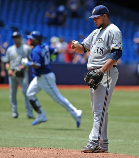Jul 2, 2014; Toronto, Ontario, CAN; Milwaukee Brewers starting pitcher Wily Peralta reacts as he waits for Toronto Blue Jays third baseman Juan Francisco to round the bases after he hit a two-run home run in the Jays 7-4 win at Rogers Centre. Mandatory Credit: Dan Hamilton-USA TODAY Sports