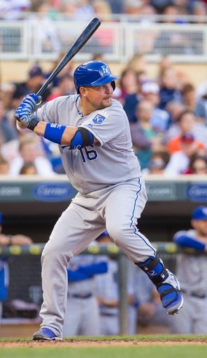 Jun 30, 2014; Minneapolis, MN, USA; Kansas City Royals designated hitter Billy Butler (16) at bat against the Minnesota Twins at Target Field. Mandatory Credit: Brad Rempel-USA TODAY Sports