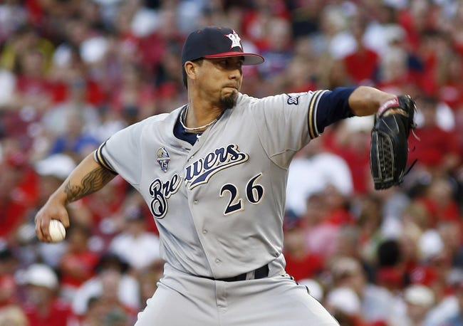 Jul 4, 2014; Cincinnati, OH, USA; Milwaukee Brewers starting pitcher Kyle Lohse throws against the Cincinnati Reds during the fourth inning at Great American Ball Park. Mandatory Credit: David Kohl-USA TODAY Sports