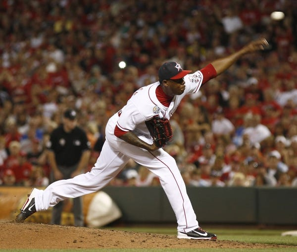 Jul 4, 2014; Cincinnati, OH, USA; Cincinnati Reds relief pitcher Aroldis Chapman throws against the Milwaukee Brewers during the ninth inning at Great American Ball Park. Mandatory Credit: David Kohl-USA TODAY Sports
