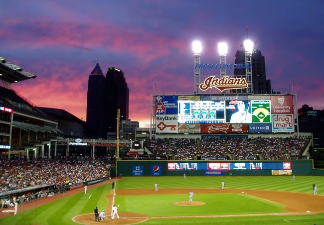 Jul 5, 2014; Cleveland, OH, USA; A general view of Progressive Field at sunset during the game between the Kansas City Royals and the Cleveland Indians. Mandatory Credit: David Richard-USA TODAY Sports