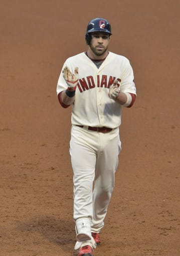 Jul 5, 2014; Cleveland, OH, USA; Cleveland Indians second baseman Jason Kipnis (22) reacts after a base hit in the fifth inning against the Kansas City Royals at Progressive Field. Mandatory Credit: David Richard-USA TODAY Sports