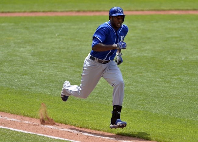 Jul 6, 2014; Cleveland, OH, USA; Kansas City Royals right fielder Lorenzo Cain (6) runs out an infield single in the sixth inning against the Cleveland Indians at Progressive Field. Mandatory Credit: David Richard-USA TODAY Sports