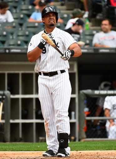 Jul 1, 2014; Chicago, IL, USA; Chicago White Sox first baseman Jose Abreu (79) during the fifth inning at U.S Cellular Field. Mandatory Credit: Mike DiNovo-USA TODAY Sports