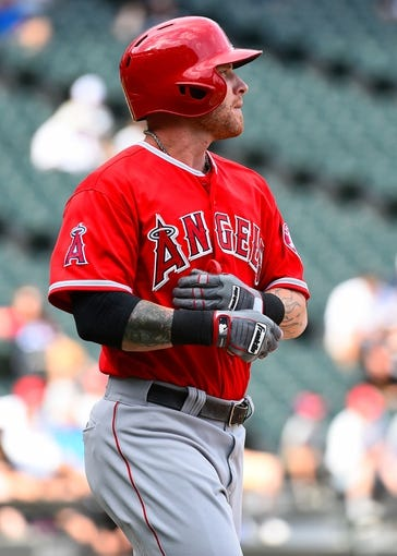 Jul 1, 2014; Chicago, IL, USA; Los Angeles Angels left fielder Josh Hamilton (32) during the ninth inning at U.S Cellular Field. Mandatory Credit: Mike DiNovo-USA TODAY Sports