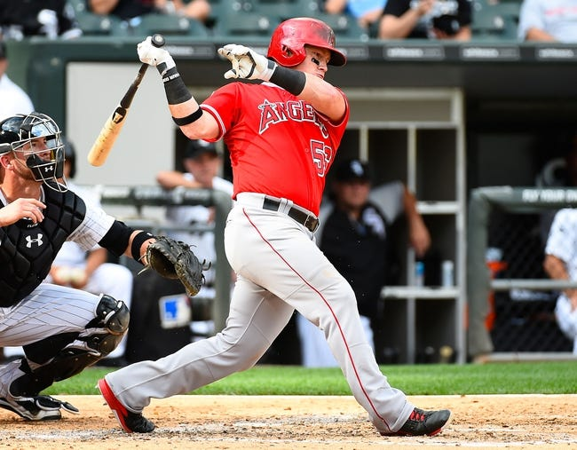 Jul 1, 2014; Chicago, IL, USA; Los Angeles Angels right fielder Kole Calhoun (56) during the fifth inning at U.S Cellular Field. Mandatory Credit: Mike DiNovo-USA TODAY Sports