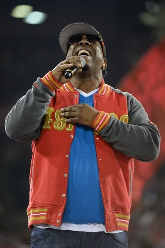 December 23, 2013; San Francisco, CA, USA; Musical group Boyz II Men member Wanya Morris performs after the final regular season game at Candlestick Park between the San Francisco 49ers and the Atlanta Falcons. The 49ers defeated the Falcons 34-24. Mandatory Credit: Kyle Terada-USA TODAY Sports