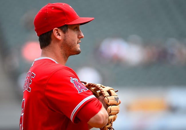 Jul 1, 2014; Chicago, IL, USA; Los Angeles Angels third baseman David Freese (6) during the ninth inning at U.S Cellular Field. Mandatory Credit: Mike DiNovo-USA TODAY Sports
