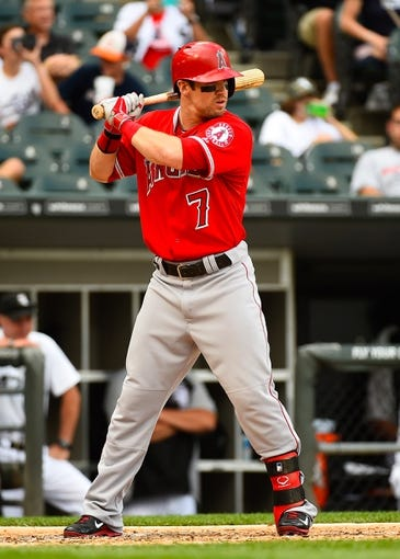 Jul 1, 2014; Chicago, IL, USA; Los Angeles Angels right fielder Collin Cowgill (7) during the fifth inning at U.S Cellular Field. Mandatory Credit: Mike DiNovo-USA TODAY Sports