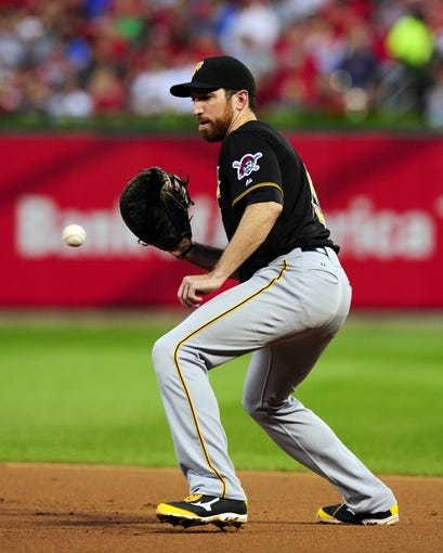 Jul 9, 2014; St. Louis, MO, USA; Pittsburgh Pirates first baseman Ike Davis (15) fields a ground ball hit by St. Louis Cardinals center fielder Oscar Taveras (not pictured) during the third inning at Busch Stadium. Mandatory Credit: Jeff Curry-USA TODAY Sports