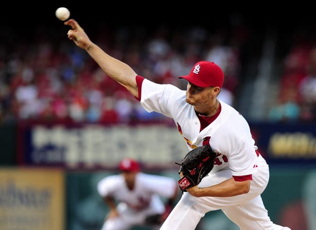 Jul 10, 2014; St. Louis, MO, USA; St. Louis Cardinals starting pitcher Shelby Miller (40) throws to a Pittsburgh Pirates batter during the third inning at Busch Stadium. Mandatory Credit: Jeff Curry-USA TODAY Sports