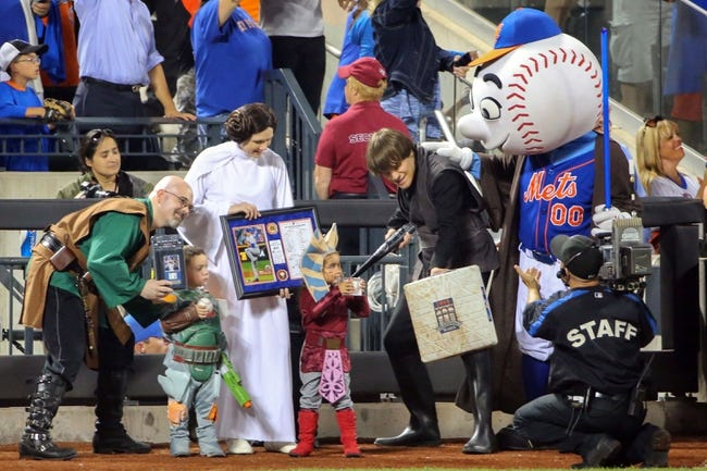 Jul 11, 2014; New York, NY, USA;  Winner of the best costume at Star Wars night at Citi Field during the game between the New York Mets and the Miami Marlins. Mandatory Credit: Anthony Gruppuso-USA TODAY Sports