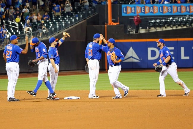 Jul 11, 2014; New York, NY, USA; New York Mets celebrate the win against the Miami Marlins at Citi Field. New York Mets won 7-1.  Mandatory Credit: Anthony Gruppuso-USA TODAY Sports
