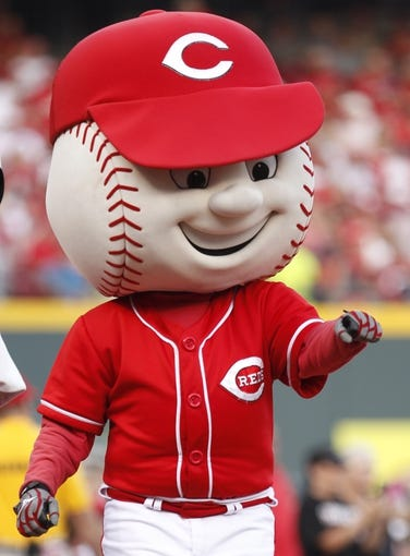 Jul 12, 2014; Cincinnati, OH, USA; Cincinnati Reds mascot Mr Red Legs prior to the game against the Pittsburgh Pirates at Great American Ball Park. Mandatory Credit: Frank Victores-USA TODAY Sports