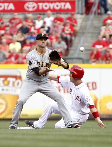Jul 12, 2014; Cincinnati, OH, USA; Cincinnati Reds third baseman Todd Frazier (21) steals second base during the first inning against the Pittsburgh Pirates shortstop Jordy Mercer (10) at Great American Ball Park. Mandatory Credit: Frank Victores-USA TODAY Sports
