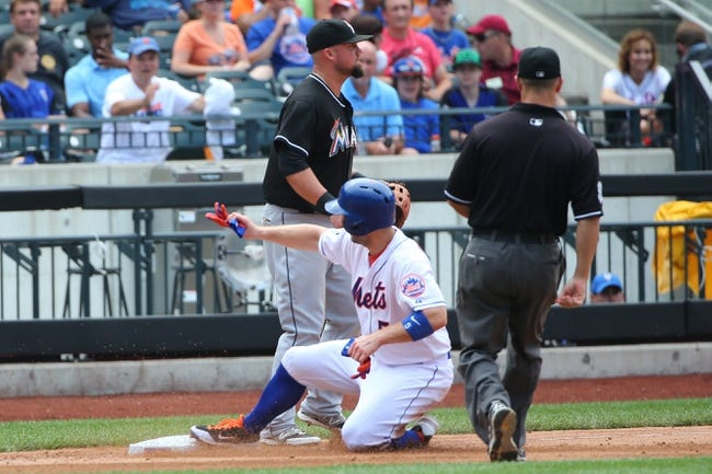 Jul 13, 2014; New York, NY, USA;  New York Mets third baseman David Wright (5) advances to third during the fifth inning against the Miami Marlins at Citi Field. Mandatory Credit: Anthony Gruppuso-USA TODAY Sports