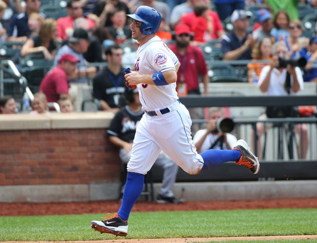 Jul 13, 2014; New York, NY, USA;  New York Mets third baseman David Wright (5) heads home to score during the fifth inning against the Miami Marlins at Citi Field. Mandatory Credit: Anthony Gruppuso-USA TODAY Sports