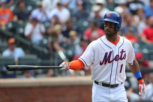 Jul 13, 2014; New York, NY, USA; New York Mets left fielder Chris Young (1) draws a walk during the fifth inning against the Miami Marlins at Citi Field. Mandatory Credit: Anthony Gruppuso-USA TODAY Sports