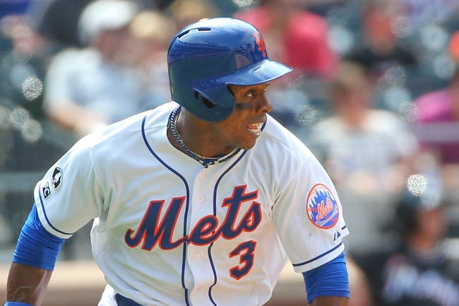 Jul 13, 2014; New York, NY, USA; New York Mets right fielder Curtis Granderson (3) heads out on his single during the sixth inning against the Miami Marlins at Citi Field. Mandatory Credit: Anthony Gruppuso-USA TODAY Sports