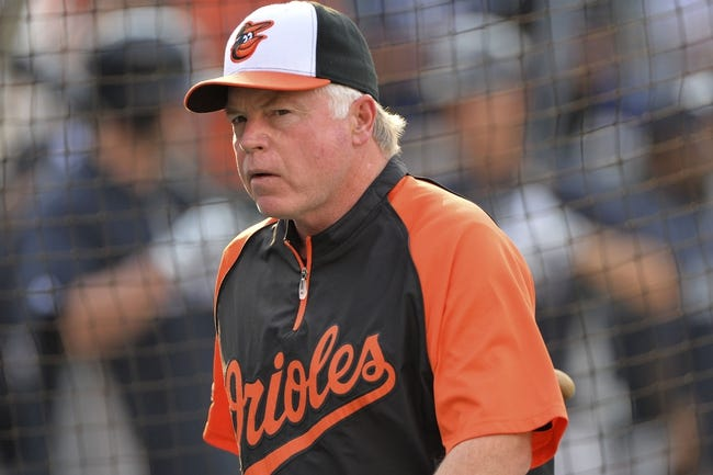 Jul 13, 2014; Baltimore, MD, USA; Baltimore Orioles manager Buck Showalter (26) walks across the field prior to the game against the New York Yankees  at Oriole Park at Camden Yards. Mandatory Credit: Tommy Gilligan-USA TODAY Sports