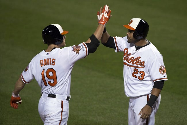 Jul 13, 2014; Baltimore, MD, USA; Baltimore Orioles first baseman Chris Davis (19) celebrates with designated hitter Nelson Cruz (23) at home plate after hitting a two-run home run during the fourth inning against the New York Yankees at Oriole Park at Camden Yards. Mandatory Credit: Tommy Gilligan-USA TODAY Sports