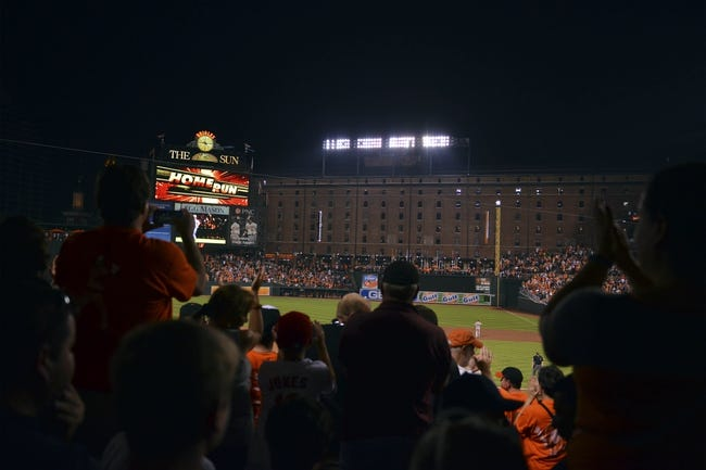 Jul 13, 2014; Baltimore, MD, USA; Fans celebrate after Baltimore Orioles first baseman Chris Davis (not pictured) hit a two run home run during the fourth inning against the New York Yankees  at Oriole Park at Camden Yards. Mandatory Credit: Tommy Gilligan-USA TODAY Sports