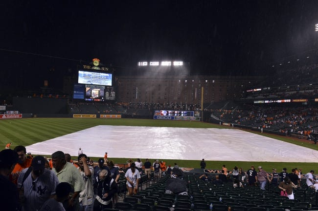 Jul 13, 2014; Baltimore, MD, USA; A rain delayed is called due to inclement weather during the bottom of the fifth inning of the game between the New York Yankees and Baltimore Orioles at Oriole Park at Camden Yards. Mandatory Credit: Tommy Gilligan-USA TODAY Sports