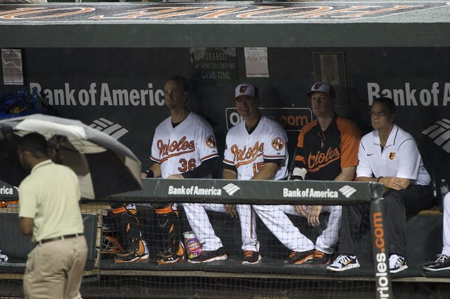 Jul 13, 2014; Baltimore, MD, USA; The Baltimore Orioles  sit in the dugout during the rain delay in the bottom of the fifth inning of the game against the New York Yankees at Oriole Park at Camden Yards. Mandatory Credit: Tommy Gilligan-USA TODAY Sports