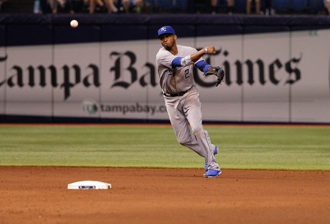 Jul 7, 2014; St. Petersburg, FL, USA; Kansas City Royals shortstop Alcides Escobar (2) throws the ball to first for an out during the fifth inning against the Tampa Bay Rays at Tropicana Field. Mandatory Credit: Kim Klement-USA TODAY Sports
