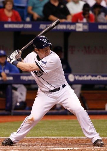 Jul 7, 2014; St. Petersburg, FL, USA; Tampa Bay Rays catcher Ryan Hanigan (24) at bat against the Tampa Bay Rays at Tropicana Field. Mandatory Credit: Kim Klement-USA TODAY Sports
