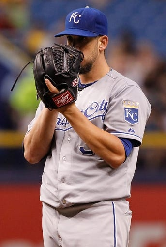 Jul 7, 2014; St. Petersburg, FL, USA; Kansas City Royals starting pitcher James Shields (33) on the mound against the Tampa Bay Rays at Tropicana Field. Mandatory Credit: Kim Klement-USA TODAY Sports