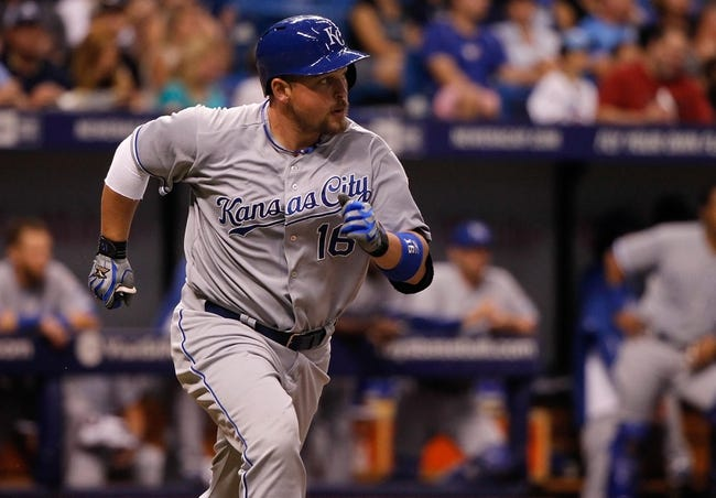Jul 7, 2014; St. Petersburg, FL, USA; Kansas City Royals designated hitter Billy Butler (16) singled during the sixth inning against the Tampa Bay Rays at Tropicana Field. Mandatory Credit: Kim Klement-USA TODAY Sports