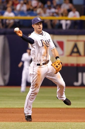 Jul 7, 2014; St. Petersburg, FL, USA; Tampa Bay Rays third baseman Evan Longoria (3) throws the ball to first against the Kansas City Royals at Tropicana Field. Kansas City Royals defeated the Tampa Bay Rays 6-0.  Mandatory Credit: Kim Klement-USA TODAY Sports