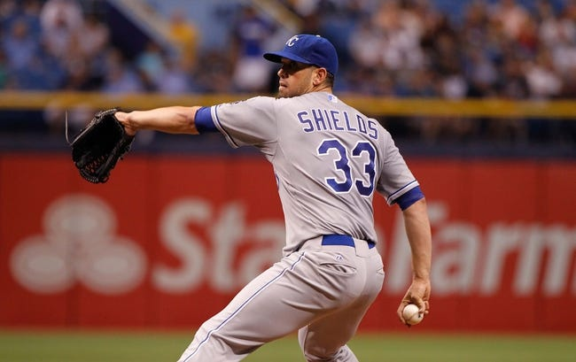 Jul 7, 2014; St. Petersburg, FL, USA; Kansas City Royals starting pitcher James Shields (33) throws a pitch against the Tampa Bay Rays at Tropicana Field. Mandatory Credit: Kim Klement-USA TODAY Sports