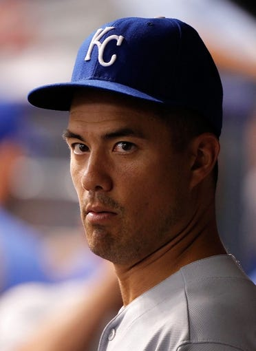 Jul 7, 2014; St. Petersburg, FL, USA; Kansas City Royals starting pitcher Jeremy Guthrie (11) in the dugout against the Tampa Bay Rays at Tropicana Field. Mandatory Credit: Kim Klement-USA TODAY Sports