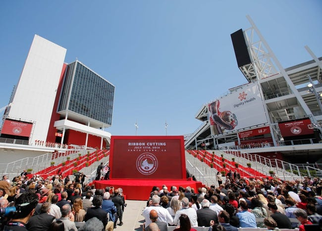 Jul 17, 2014; Santa Clara, CA, USA; General view of the stage before the ribbon cutting ceremony at Levi's Stadium. Mandatory Credit: Kelley L Cox-USA TODAY Sports