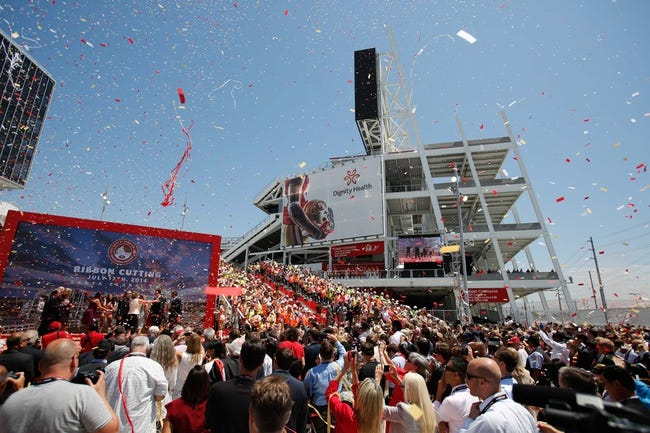 Jul 17, 2014; Santa Clara, CA, USA; Confetti is released into the crowd during the ribbon cutting ceremony at Levi's Stadium. Mandatory Credit: Kelley L Cox-USA TODAY Sports