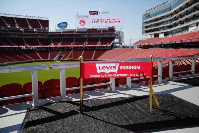 Jul 17, 2014; Santa Clara, CA, USA; A general view of signage indicating the ribbon cutting ceremony during a tour at Levi's Stadium. Mandatory Credit: Kelley L Cox-USA TODAY Sports