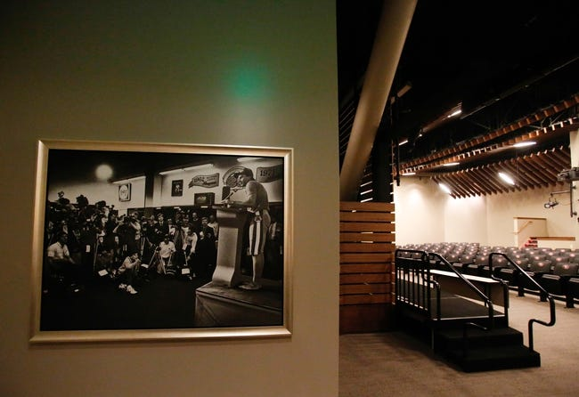 Jul 17, 2014; Santa Clara, CA, USA; A general view of the San Francisco 49ers post game press conference room during a tour before the ribbon cutting ceremony at Levi's Stadium. Mandatory Credit: Kelley L Cox-USA TODAY Sports