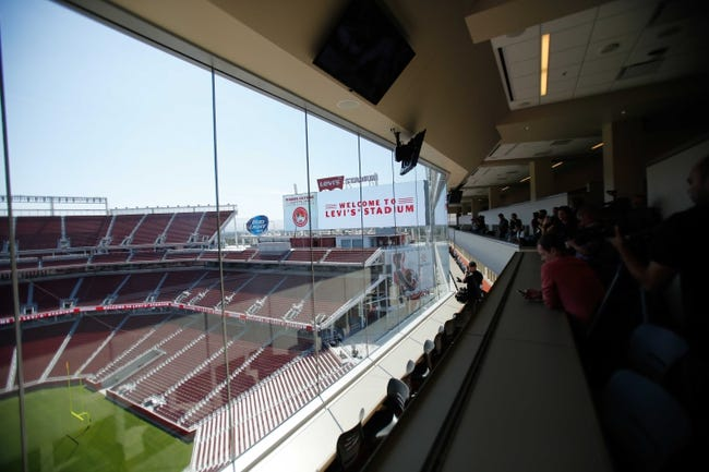 Jul 17, 2014; Santa Clara, CA, USA; A general view from the press box during a tour before the ribbon cutting ceremony at Levi's Stadium. Mandatory Credit: Kelley L Cox-USA TODAY Sports