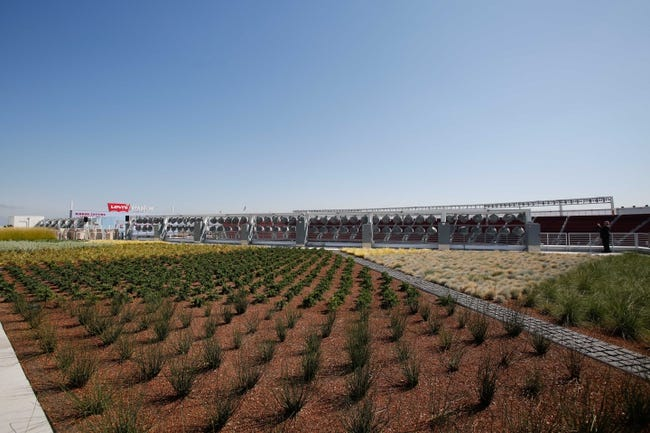 Jul 17, 2014; Santa Clara, CA, USA; A general view of the roof deck during a tour before the ribbon cutting ceremony at Levi's Stadium. Mandatory Credit: Kelley L Cox-USA TODAY Sports