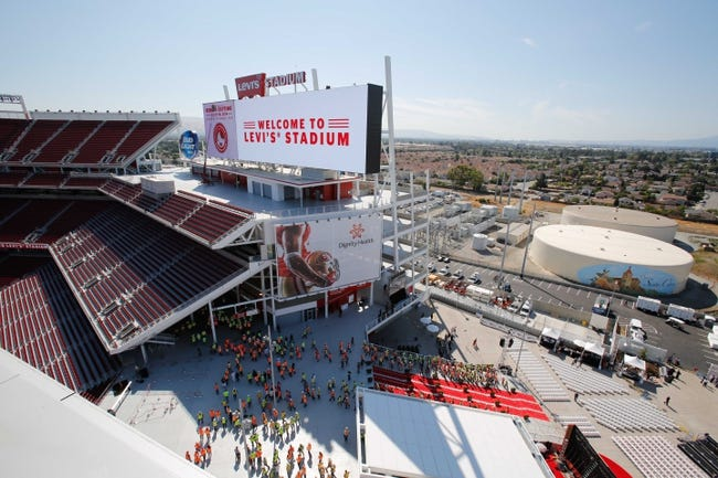 Jul 17, 2014; Santa Clara, CA, USA; General view as NFL stadium construction workers arrive for the ribbon cutting ceremony at Levi's Stadium. Mandatory Credit: Kelley L Cox-USA TODAY Sports