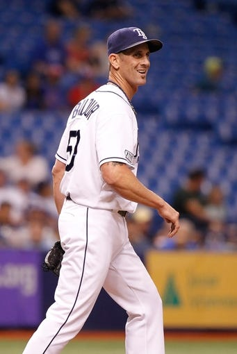 Jul 8, 2014; St. Petersburg, FL, USA; Tampa Bay Rays relief pitcher Grant Balfour (50) reacts on the mound against the Kansas City Royals  at Tropicana Field. Mandatory Credit: Kim Klement-USA TODAY Sports