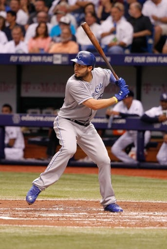Jul 8, 2014; St. Petersburg, FL, USA; Kansas City Royals first baseman Eric Hosmer (35) at bat against the Tampa Bay Rays at Tropicana Field. Mandatory Credit: Kim Klement-USA TODAY Sports