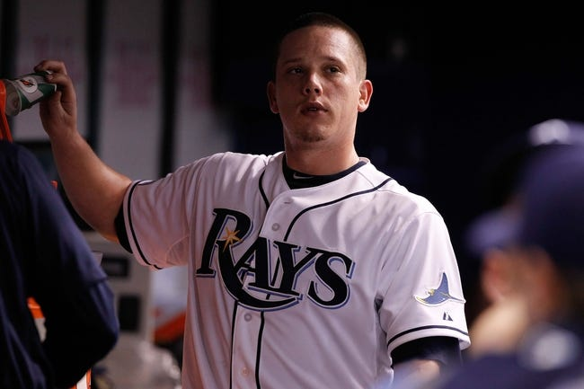 Jul 8, 2014; St. Petersburg, FL, USA; Tampa Bay Rays starting pitcher Jeremy Hellickson (58) in the dugout against the Kansas City Royals at Tropicana Field. Mandatory Credit: Kim Klement-USA TODAY Sports